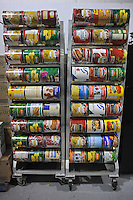 "Soup cans in the pantry of the Faith Mission, a homeless shelter, in Elkhart, Indiana on April 8, 2009.  Elkhart has seen a surge in unemployment in the last year from 4.5% in 2008 to 20% this year and Obama has visited the town three times, including his first stop after arriving in Washington as the U.S. President to promote ""bail out"" and stimulus spending during the current global recession; the main building of the Faith Mission is located in the former site of the RV Manufacturing Museum and Library."
