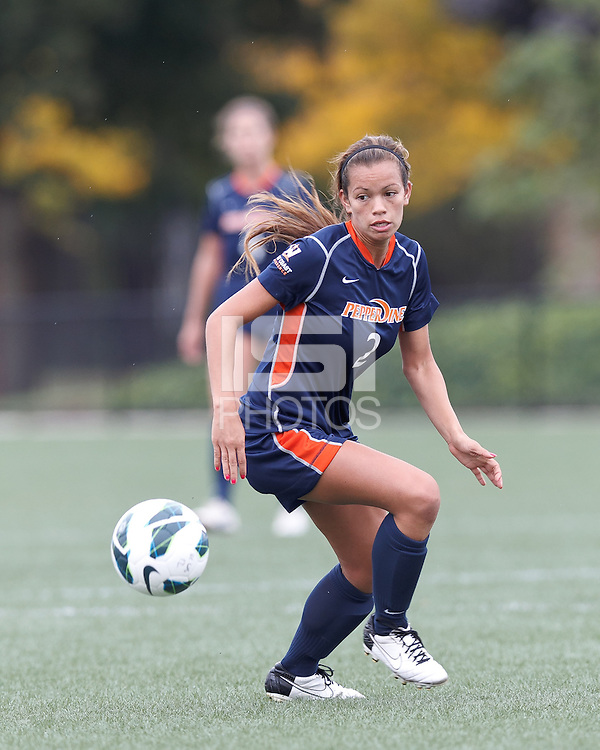 Pepperdine University forward/midfielder Ally Holtz (2) tracks ball at midfield. Pepperdine University defeated Boston College,1-0, at Soldiers Field Soccer Stadium, on September 29, 2012.