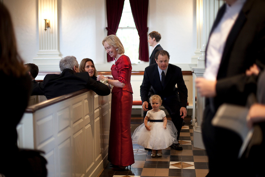 CONCORD, MA.-- October 15, 2011-- The groom's mother, Doris Kearns Goodwin, greets guests before the ceremony. Victoria Bonney and Joseph Goodwin wed in Concord, Massachusetts. CREDIT: JODI HILTON FOR THE NEW YORK TIMES