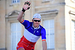 French National Champion Arnaud Demare (FRA) Groupama-FDJ at sign on in Compiegne before the start of the 116th edition of Paris-Roubaix 2018. 8th April 2018.<br /> Picture: ASO/Pauline Ballet | Cyclefile<br /> <br /> <br /> All photos usage must carry mandatory copyright credit (&copy; Cyclefile | ASO/Pauline Ballet)