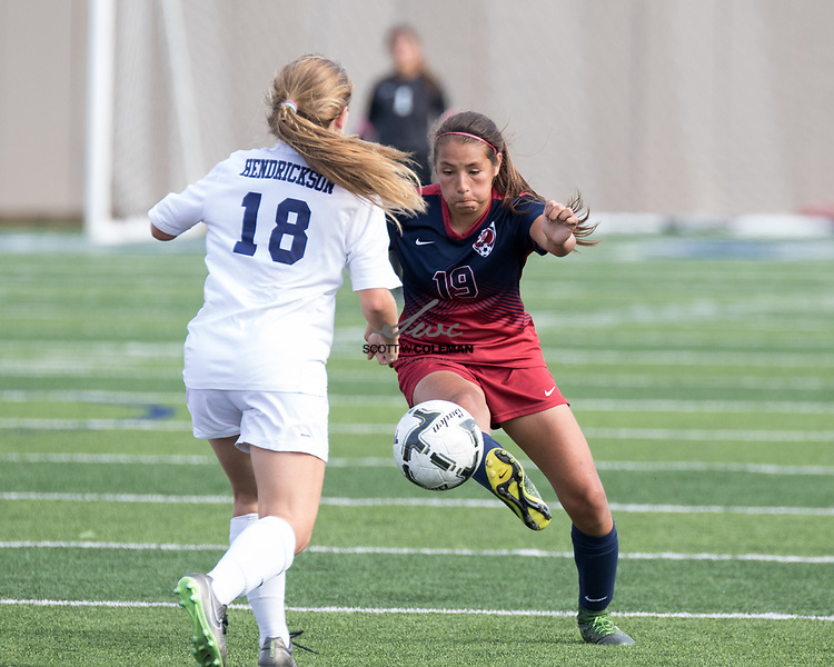 Tompkins Falcons Barbara Olivieri (19) in action during the Class 6A UIL girls soccer state final the Pflugerville Hendrickson Hawks and the Katy Tompkins Falcons at Birkelbach Field in Georgetown, Texas, on April 15, 2017. Hendrickson won 2-0.
