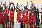 """die Bayern mit der Meisterschale, Siegerehrung,<br /> v.l.<br /> Kingsley COMAN (M), Joshua KIMMICH (M), Alphonso DAVIES (M), Joshua ZIRKZEE (M), Trainer Hans-Dieter """"Hansi """" FLICK (M), Jerome BOATENG (M), Michael CUISANCE (M), David ALABA (M),  Torwart Manuel NEUER (M), <br /> <br /> Sport: Fussball: 1. Bundesliga: Saison 19/20: 34.Spieltag, <br /> VFL WOLFSBURG - FC BAYERN MUENCHEN <br /> am 27.06.2020 in der Volkswagen Arena Wolfsburg, <br /> <br /> Nur fuer journalistische Zwecke! <br /> Only for editorial use!<br /> Gemaess den Vorgaben der DFL Deutsche Fussball Liga ist es untersagt, in dem Stadion und/oder vom Spiel angefertigte Fotoaufnahmen in Form von Sequenzbildern und/oder videoaehnlichen Fotostrecken zu verwerten bzw. verwerten zu lassen. <br /> DFL regulations prohibit any use of photographs as image sequences and/or quasi-video.<br /> National and International News Agencies OUT<br /> NO RESALE!"""