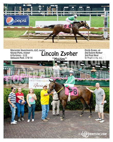 Lincoln Zypher winning at Delaware Park on 7/9/14