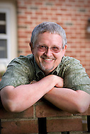 Auther Orson Scott Card in his garden in Greensboro North Carolina.