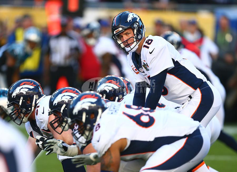 Feb 7, 2016; Santa Clara, CA, USA; Denver Broncos quarterback Peyton Manning (18) prepares to take the snap against the Carolina Panthers in Super Bowl 50 at Levi's Stadium. Mandatory Credit: Mark J. Rebilas-USA TODAY Sports