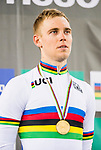 Adrian Teklinski of the Poland team celebrates winning the Men's Scratch Race Final as part of the award ceremony of the Men's Scratch 15km as part of the 2017 UCI Track Cycling World Championships on 13 April 2017, in Hong Kong Velodrome, Hong Kong, China. Photo by Marcio Rodrigo Machado / Power Sport Images