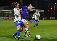 20180126 - OOSTAKKER , BELGIUM : Gent's Jody Vangheluwe pictured in a duel with Anderlecht's Ella Van Kerkhoven (right) during the quarter final of Belgian cup 2018 , a womensoccer game between KAA Gent Ladies and RSC Anderlecht , at the PGB stadion in Oostakker , friday 27 th January 2018 . PHOTO SPORTPIX.BE | DAVID CATRY