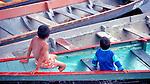 Boys in pirogue, Gran Sabana, Venezuela