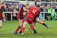Rob Stevenson of London Scottish is tackled during the Greene King IPA Championship match between London Scottish Football Club and Hartpury RFC at Richmond Athletic Ground, Richmond, United Kingdom on 28 October 2017. Photo by David Horn.