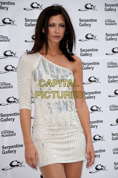 MARGOT STILLEY.The Summer Party at The Serpentine Gallery, London, England. .July 9th, 2009 .half length white silver pattern one shoulder sleeve dress .CAP/CAS.©Bob Cass/Capital Pictures.