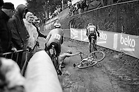 crash <br /> <br /> U23 men's race<br /> <br /> UCI 2016 cyclocross World Championships / Zolder, Belgium