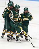 Cassidy Campeau (UVM - 18), Amanda Drobot (UVM - 12), Alyssa Gorecki (UVM - 23) -  The Boston College Eagles defeated the University of Vermont Catamounts 4-3 in double overtime in their Hockey East semi-final on Saturday, March 4, 2017, at Walter Brown Arena in Boston, Massachusetts.