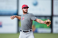 Elizabethton Twins third baseman Trey Cabbage (20) on defense during batting practice prior to the game against the Danville Braves at American Legion Post 325 Field on July 1, 2017 in Danville, Virginia.  The Twins defeated the Braves 7-4.  (Brian Westerholt/Four Seam Images)