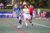 Boston, MA - Friday August 04, 2017: Megan Oyster and Lo'eau Labonta during a regular season National Women's Soccer League (NWSL) match between the Boston Breakers and FC Kansas City at Jordan Field.