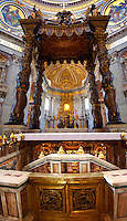 The Tomb of St. Peter and Baroque Canopy ( baldacchino) by Bernini in St Peter's, The Vatican, Rome