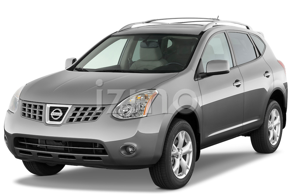 Front three quarter view of a 2009 Nissan Rogue SL.