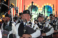The Chicago Pipe Band play out the Closing Ceremony after Sunday's Singles Matches of the 39th Ryder Cup at Medinah Country Club, Chicago, Illinois 30th September 2012 (Photo Colum Watts/www.golffile.ie)