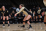 Caroline Rassenfoss (18) of the Wake Forest Demon Deacons digs the ball against the USC Upstate Spartans in the LJVM Coliseum on September 9, 2017 in Winston-Salem, North Carolina.  The Demon Deacons defeated the Spartans 3-2.   (Brian Westerholt/Sports On Film)