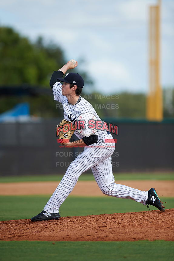 New York Yankees pitcher Nolan Martinez (11) delivers a pitch during an Instructional League game against the Baltimore Orioles September 23, 2017 at the Yankees Minor League Complex in Tampa, Florida.  (Mike Janes/Four Seam Images)