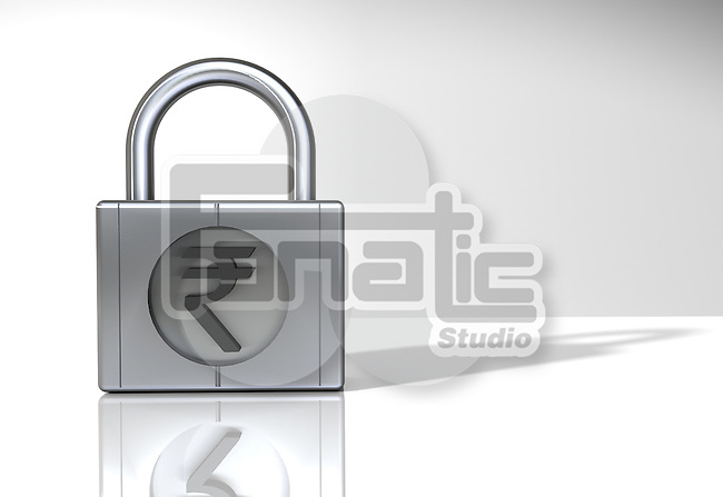 Representation of Indian Rupee symbol on a padlock