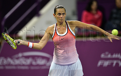 26.02.2016. Doha, Qatar.  Roberta Vinci of Italy competes during her womens singles quarterfinal match against Agnieszka Radwanska of Poland at the WTA Tennis Damen Qatar Open 2016 in Doha, Qatar, Feb. 25, 2016. Agnieszka Radwanska won 2-1. ) (SP)QATAR-DOHA-TENNIS-WTA QATAR OPEN 2016 Nikku