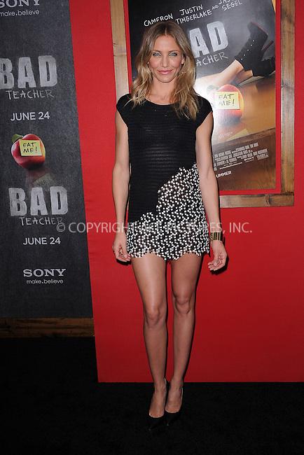 WWW.ACEPIXS.COM . . . . . .June 20, 2011...New York City...Cameron Diaz attends the premiere of 'Bad Teacher' at the Ziegfeld Theatre on June 20, 2011 in New York City.....Please byline: KRISTIN CALLAHAN - ACEPIXS.COM.. . . . . . ..Ace Pictures, Inc: ..tel: (212) 243 8787 or (646) 769 0430..e-mail: info@acepixs.com..web: http://www.acepixs.com .