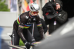 Well wrapped up World Champion Alejandro Valverde (ESP) Movistar Team at sign on before the start of the 105th edition of Liège-Bastogne-Liège 2019, La Doyenne, running 256km from Liege to Liege, Belgium. 28th April 2019<br /> Picture: ASO/Gautier Demouveaux | Cyclefile<br /> All photos usage must carry mandatory copyright credit (© Cyclefile | ASO/Gautier Demouveaux)