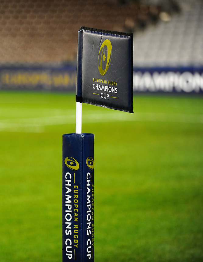 Flags with the European Rugby Champions Cup branding<br /> <br /> Photographer Ashley Western/CameraSport<br /> <br /> Rugby Union - European Rugby Champions Cup - Pool 2 - Harlequins v Wasps - Saturday 17th January 2015 - The Stoop - London<br /> <br /> &copy; CameraSport - 43 Linden Ave. Countesthorpe. Leicester. England. LE8 5PG - Tel: +44 (0) 116 277 4147 - admin@camerasport.com - www.camerasport.com
