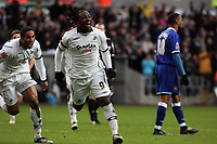 Pictured: Jason Scotland of Swansea (C) celebrating his second goal with team mate Ashley Williams (L).<br /> Re: Coca Cola Championship, Swansea City FC v Ipswich Town at the Liberty Stadium. Swansea, south Wales, Saturday 07 February 2009<br /> Picture by D Legakis Photography / Athena Picture Agency, Swansea 07815441513