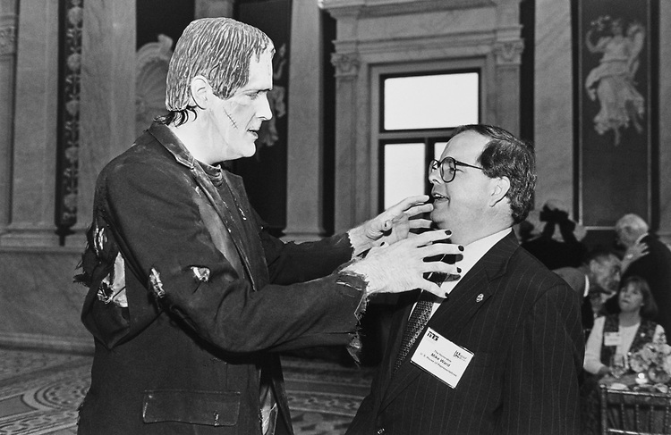 Frankenstein threatens Rep. Mike Ward, R-Ky., at The Learning Channel's great books celebration on Sep. 12, 1996. (Photo by Laura Patterson/CQ Roll Call)