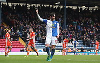 Blackburn Rovers' Danny Graham celebrates Adam Armstrong scoring his sides third goal<br /> <br /> Photographer Rachel Holborn/CameraSport<br /> <br /> The EFL Sky Bet League One - Blackburn Rovers v Blackpool - Saturday 10th March 2018 - Ewood Park - Blackburn<br /> <br /> World Copyright &copy; 2018 CameraSport. All rights reserved. 43 Linden Ave. Countesthorpe. Leicester. England. LE8 5PG - Tel: +44 (0) 116 277 4147 - admin@camerasport.com - www.camerasport.com