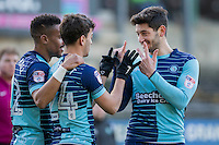 Scott Kashket of Wycombe Wanderers celebrates scoring his side's first goal with Joe Jacobson during the Sky Bet League 2 match between Plymouth Argyle and Wycombe Wanderers at Home Park, Plymouth, England on 26 December 2016. Photo by Mark  Hawkins / PRiME Media Images.
