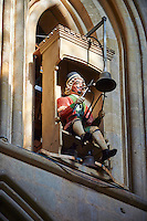 Figure of the Wells clock, 1390, in the the medieval Wells Cathedral built in the Early English Gothic style in 1175, Wells Somerset, England