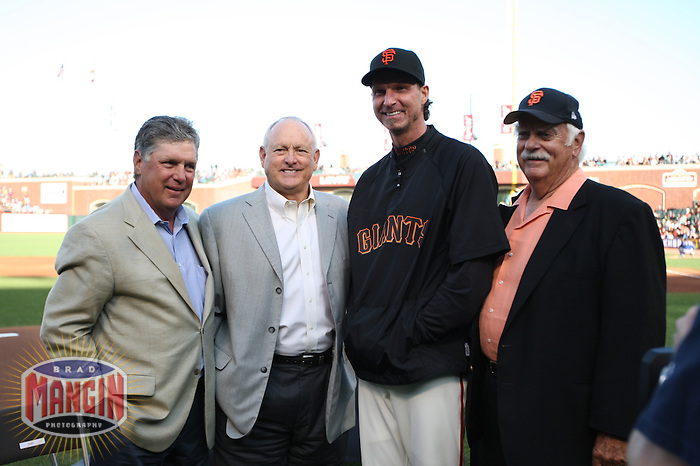 SAN FRANCISCO - JUNE 20:  Tom Seaver, Nolan Ryan, Randy Johnson and Gaylord Perry pose for a picture during ceremonies honoring Johnson for winning his 300th game before the game between the San Francisco Giants and the Texas Rangers at AT&T Park in San Francisco, California on Saturday, June 20, 2009.  The Giants defeated the Rangers 2-1.  Photo by Brad Mangin