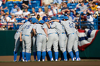 UCLA huddles before their game gainst Florida in Game 2 of the NCAA Division One Men's College World Series on Saturday June 19th, 2010 at Johnny Rosenblatt Stadium in Omaha, Nebraska.  (Photo by Andrew Woolley / Four Seam Images)