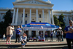 The pro-California independence group Yes California held an informational meet and greet on the steps of the State Capitol in Sacramento, California on Wednesday, November 9, 2016.  Yes California is a grassroots, socially-progressive group campaigning for the independence of California from the United States.  The group advocates for California to achieve nationhood and hopes to be able to put an independence referendum on the 2020 ballot.  Photo/Victoria Sheridan 2016