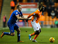 Blackpool's Dolly Menga takes on Portsmouth's Matthew Clarke<br /> <br /> Photographer Alex Dodd/CameraSport<br /> <br /> The EFL Sky Bet League One - Blackpool v Portsmouth - Saturday 11th November 2017 - Bloomfield Road - Blackpool<br /> <br /> World Copyright &copy; 2017 CameraSport. All rights reserved. 43 Linden Ave. Countesthorpe. Leicester. England. LE8 5PG - Tel: +44 (0) 116 277 4147 - admin@camerasport.com - www.camerasport.com