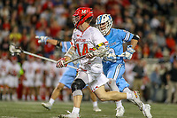 College Park, MD - April 27, 2019: Maryland Terrapins midfielder Russell Masci (44) runs with the ball during the game between John Hopkins and Maryland at  Capital One Field at Maryland Stadium in College Park, MD.  (Photo by Elliott Brown/Media Images International)