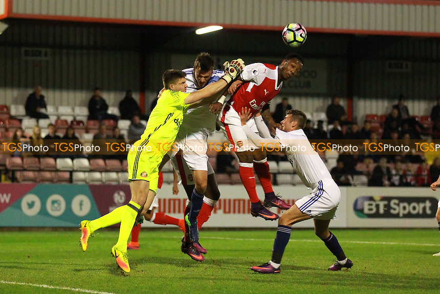 Max Stryjeck of Sunderland punches clear from Kaylen Hinds of Arsenal during Arsenal Under-23 vs Sunderland AFC Under-23, Premier League 2 Football at Meadow Park, Boreham Wood FC on 28th October 2016