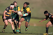 Rupeni Vosoyaco makes a break upfield for Pukekohe. Counties Manukau Premier Club Rugby game between Bombay and Pukekohe, played at Bombay on Saturday June 30th 2018.<br /> Bombay won the game 24 - 14 after leading 24 - 0 at halftime.<br /> Bombay 24 - Sepuloni Taufa, Tulele Masoe, Chay Mackwood, Liam Daniela tries, Ki Anufe 2 conversions.<br /> Pukekohe Mitre 10 Mega 14 - Joshua Baverstock, Gregor Christie tries; Cody White 2 conversions.<br /> Photo by Richard Spranger.