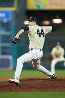Vanderbilt Commodores relief pitcher Mason Hickman (44) in action against the Houston Cougars during game nine of the 2018 Shriners Hospitals for Children College Classic at Minute Maid Park on March 3, 2018 in Houston, Texas. The Commodores defeated the Cougars 9-4. (Brian Westerholt/Four Seam Images)