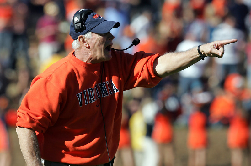 Virginia head coach Al Groh disputes a call during the 17-16 win over Wake Forest.  Photo/The Daily Progress/Andrew Shurtleff