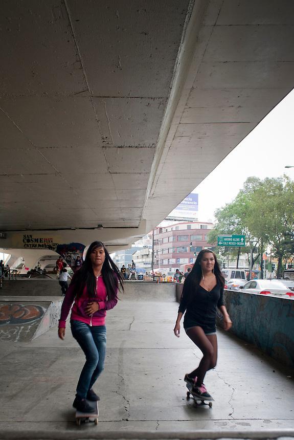Girls skating. San Cosme skate park, in Mexico City.