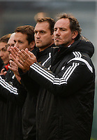 20141126 - TUBIZE , BELGIUM : Belgian coach Kris Van Der Haegen pictured during the Friendly female soccer match between Women under 19 / 21  teams of  Belgium and Turkey .Wednesday 26th November 2014 . PHOTO DAVID CATRY