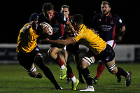 Josh Barton of London Scottish in action during the Championship Cup match between London Scottish Football Club and Yorkshire Carnegie at Richmond Athletic Ground, Richmond, United Kingdom on 4 October 2019. Photo by Carlton Myrie / PRiME Media Images