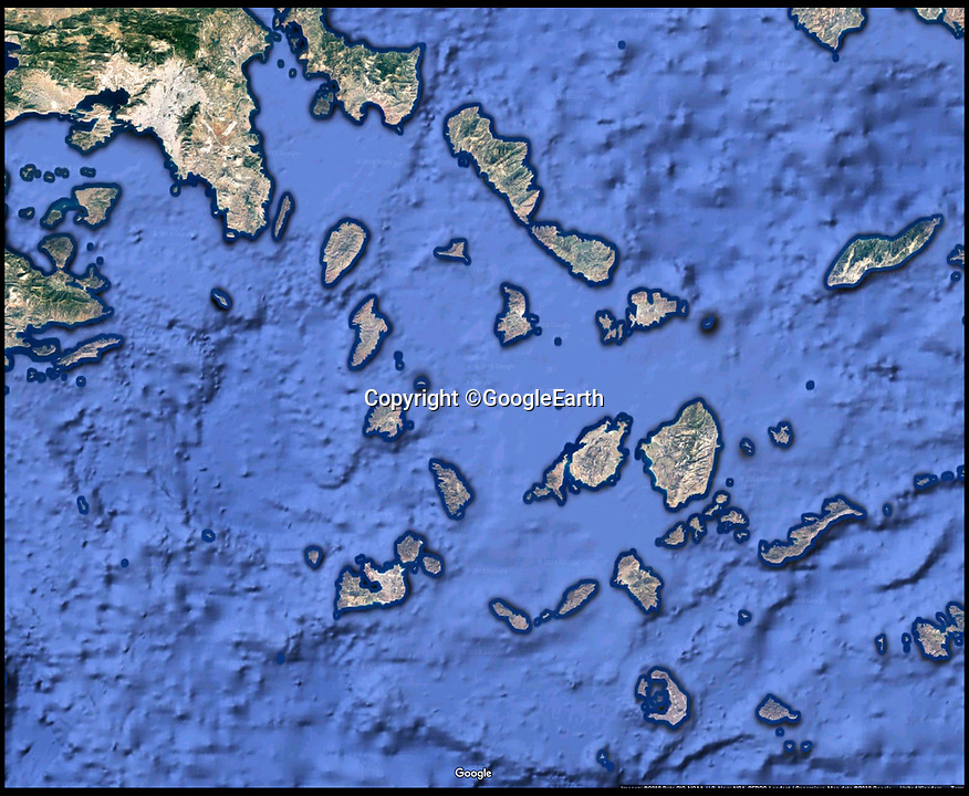 BNPS.co.uk (01202)558833Pic:  GoogleEarth<br /> <br /> The area of the Aegean south of Athens where HMS Triumph is thought to rest.<br /> <br /> The relatives of the crew of a lost British submarine have gathered together to mark the 77th anniversary of their deaths and are determined to finally track down their watery tomb...<br /> <br /> Poignantly, the families met up on HMS Alliance, the only remaining WW2 era British submarine based at the Royal Navy's submarine museum in Gosport.<br /> <br /> Royal Navy submarine HMS Triumph is thought to have been sunk by a German mine whilst on a top secret mission in the Aegean on the 9th of January 1942, but their final resting place has never been found.<br /> <br /> They were traced and brought together by Gav Don, who is on a one-man mission to find the wreck of the submarine that is somewhere in the <br /> Aegean Sea.<br /> <br /> The former Royal Navy officer's uncle Robert Douglas-Don died with the rest of the 62-strong crew in January 1942.<br /> <br /> At the time the submarine was on a top secret mission to recover 18 escaped Allied soldiers from a remote Greek island.