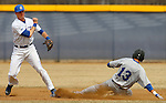 BROOKINGS, SD - APRIL 1:  Cody Sharrow from South Dakota State throws the ball to first to try and complete a double play as Tyler Olson #13 from Dakota Wesleyan slides into second Wednesday afternoon in Brookings. (Photo by Dave Eggen/Inertia)