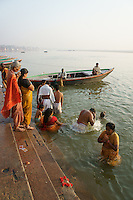 Hindu worshipper at river Ganga