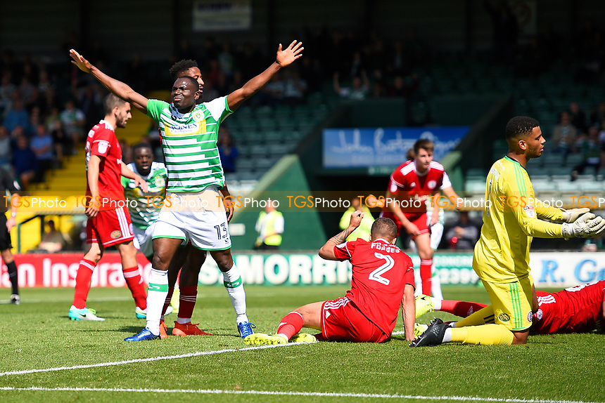 Francois Zoko of Yeovil Town celebrates after scoring the second Yeovil Town goal during Yeovil Town vs Accrington Stanley, Sky Bet EFL League 2 Football at Huish Park on 12th August 2017
