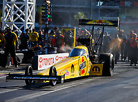 Oct 28, 2017; Las Vegas, NV, USA; NHRA top fuel driver Leah Pritchett during qualifying for the Toyota National at The Strip at Las Vegas Motor Speedway. Mandatory Credit: Mark J. Rebilas-USA TODAY Sports